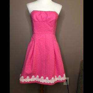 Lilly Pulitzer hot pink strapless dress